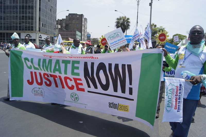 CSDevNet Members leading the Peoples Climate March in Lima