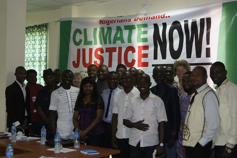 Nigerians demanding climate justice  at the CSDevNet's Climate Justice/Pre-Lima Workshop in Abuja